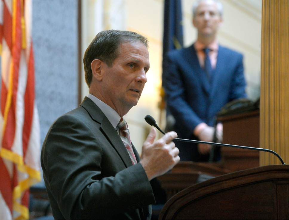Al Hartmann  |  The Salt Lake Tribune Congressman Chris Stewart speaks before members of the Utah Senate Thursday Feb. 9.