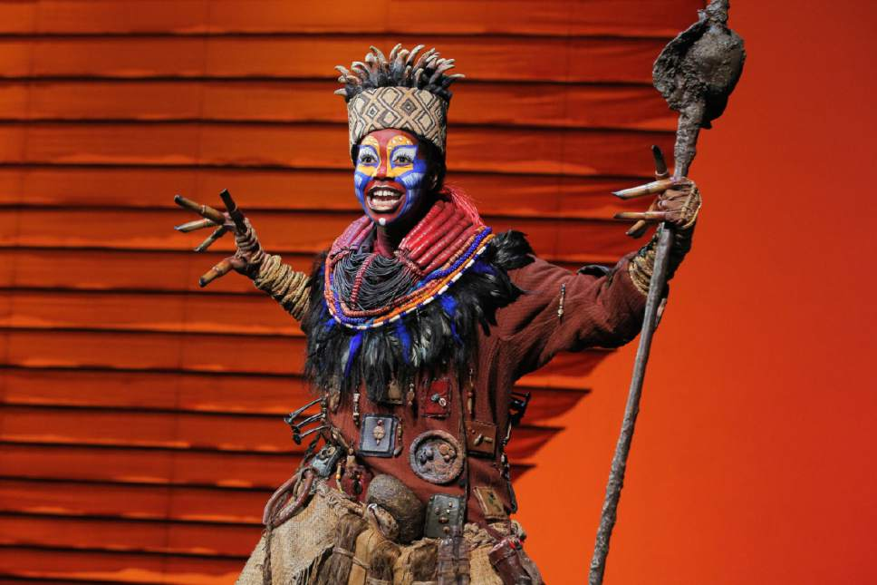 "Buyi Zama as Rafiki in the North American tour of ""The Lion King."" (Courtesy,  Joan Marcus)"