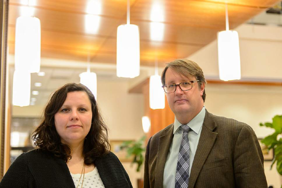 Trent Nelson  |  The Salt Lake Tribune Attorney Sarah Brinton and environmental law professor Brigham Daniels at BYU's J. Reuben Clark Law School in Provo, Thursday March 23, 2017. The two were instrumental in an online petition pressing Rep. Jason Chaffetz to conduct oversight into possible conflicts of interest involving President Donald Trump. Signatories include 25 BYU and University of Utah law professors.