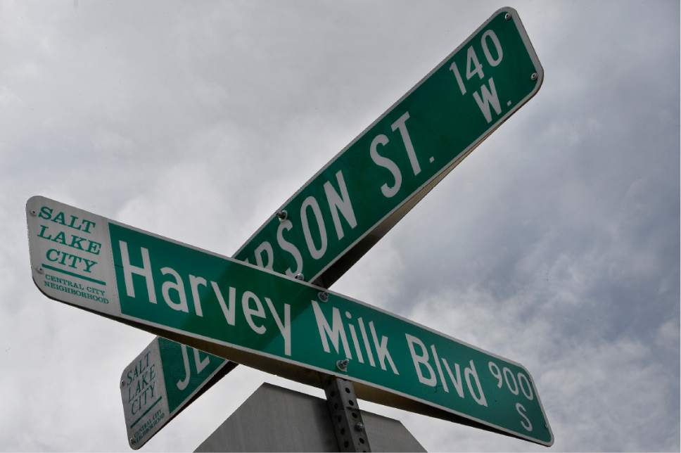 Scott Sommerdorf | The Salt Lake Tribune The street sign at the intersection near Laziz Kitchen, Meditrina and Jade Market in Salt Lake City's Central Ninth neighborhood on Sunday, March 19, 2017.