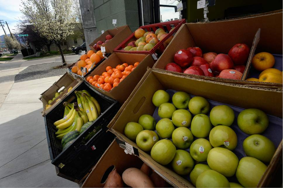 Scott Sommerdorf | The Salt Lake Tribune The produce display outside Jade Market in Salt Lake City's Central Ninth neighborhood on Sunday, March 19, 2017.