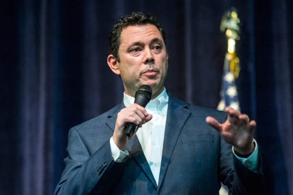 Chris Detrick  |  The Salt Lake Tribune U.S. Rep. Jason Chaffetz, R-Utah, speaks during the town-hall meeting in Brighton High School Thursday February 9, 2017.