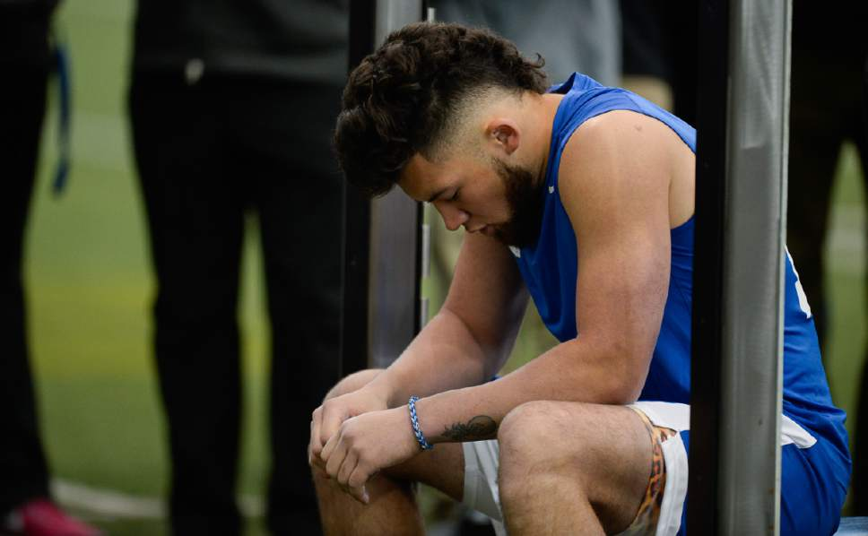 Francisco Kjolseth   The Salt Lake Tribune Defensive back Kai Nacua takes a moment to compose himself after the weight bench as BYU's Pro Day kicks off at the indoor practice facility with seniors performing in front of NFL scouts.