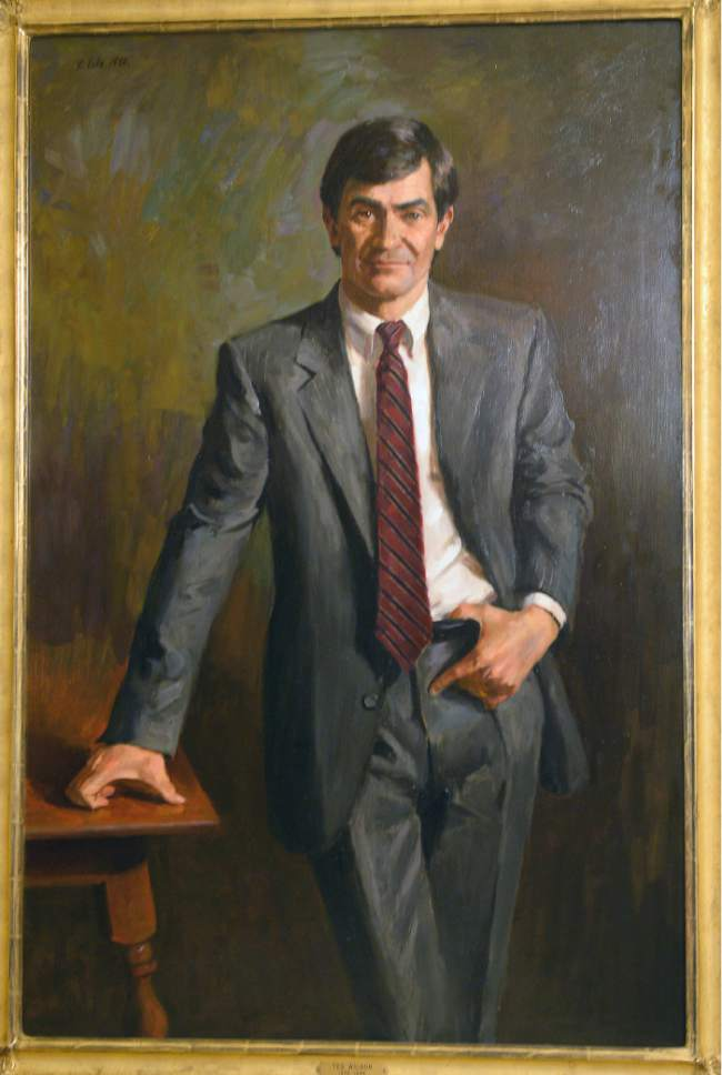 Al Hartmann  |  The Salt Lake Tribune Ted Wilson's offical portrait painted by local artist Randall Lake hangs in the hallway outside the mayor's office in the City-County building.