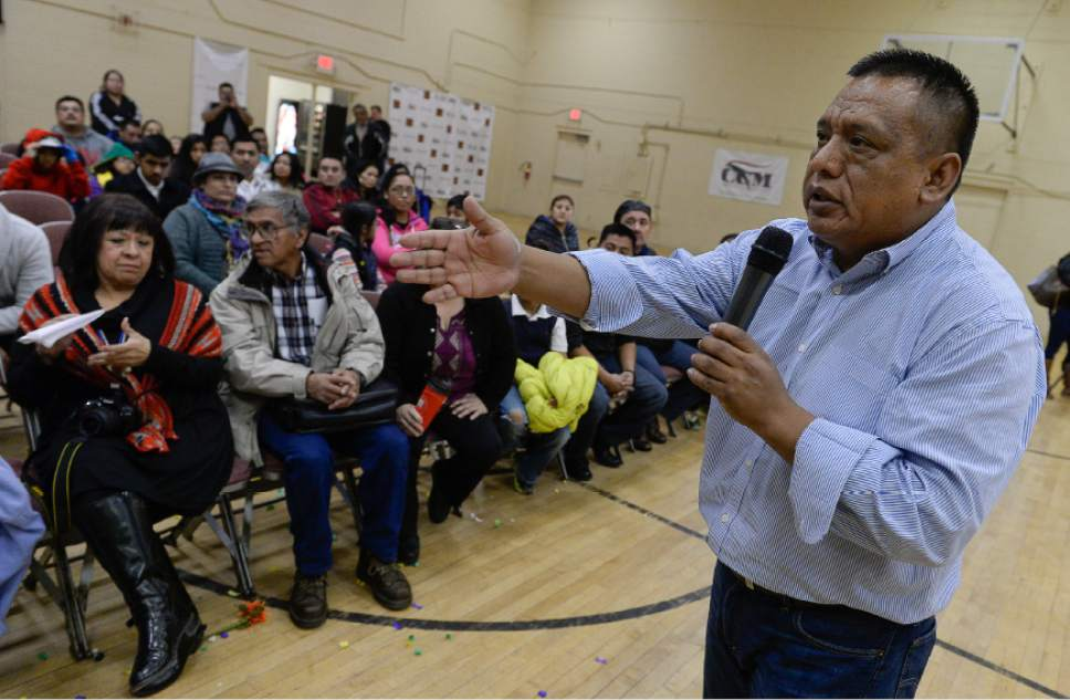 Francisco Kjolseth  |  Tribune file photo This photo from 2014 shows Tony Yapias answering questions from Utah Latinos gathered at Centro Civico Mexicano following the historic announcement by President Barack Obama to transform immigration policy and spare 5 million from deportation. Those orders have now been thrown out by the courts.