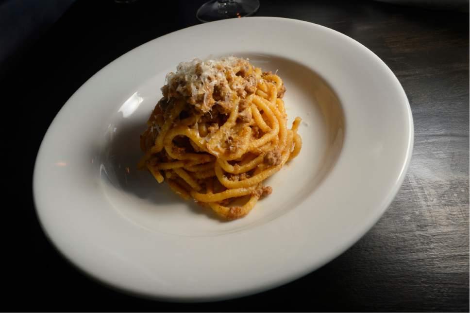 Scott Sommerdorf | The Salt Lake Tribune The bigoli pasta with duck ragu at Veneto in Salt Lake City.