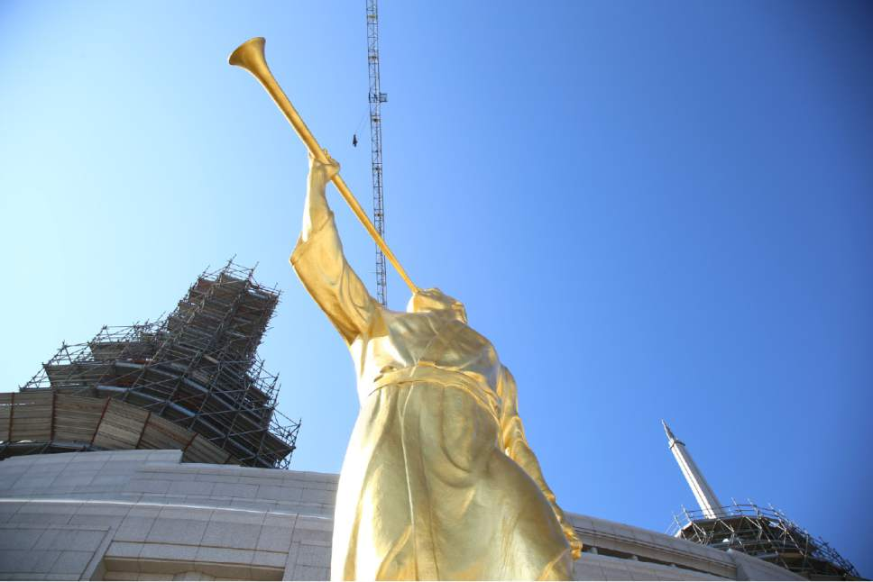 The statue of the angel Moroni prior to be raised to the top of the steeple on the Rome Italy Temple March 25, 2017. Courtesy Photo | Intellectual Reserve, Inc.