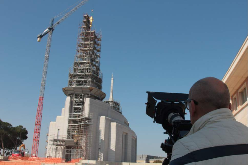 With the statue of the angel Moroni in place on the Rome Italy Temple, construction continues to complete Italy's first Latter-day Saint temple. Placement of the statue took place on Saturday, March 25, 2017. Courtesy Photo | Intellectual Reserve, Inc.