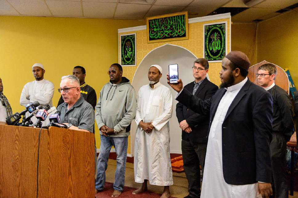 Trent Nelson     The Salt Lake Tribune Richard Anzures, the co-worker of a Kenyan man detained by ICE, speaks at a news conference where religious and community leaders gathered at the Madina Masjid Islamic Center in Salt Lake City to show support, Friday March 10, 2017. At right, holding a phone, is Imam Yussuf Abdi.
