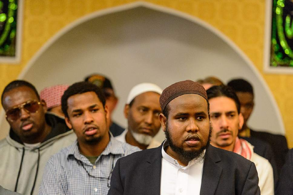 Trent Nelson  |  The Salt Lake Tribune Imam Yussuf Abdi speaks at a news conference where religious and community leaders gathered at the Madina Masjid Islamic Center in Salt Lake City to show support, Friday March 10, 2017.