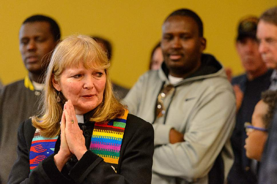 Trent Nelson     The Salt Lake Tribune Rev. Patty Willis, South Valley Unitarian Society, calls for support of the Muslim community during a news conference where religious and community leaders gathered at the Madina Masjid Islamic Center in Salt Lake City to show support, Friday March 10, 2017.