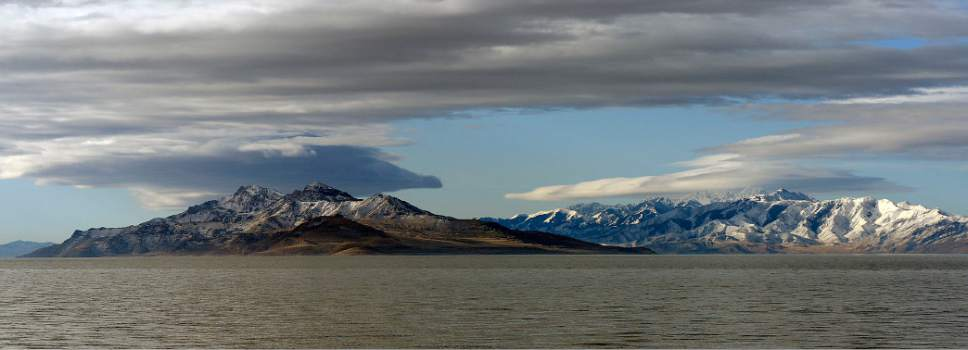 Al Hartmann  |  The Salt Lake Tribune Northern end of Stansbury Island with the snowpacked Stansbury Mountain range behind as seen from the Great Salt Lake Wednesday March 9 2017.