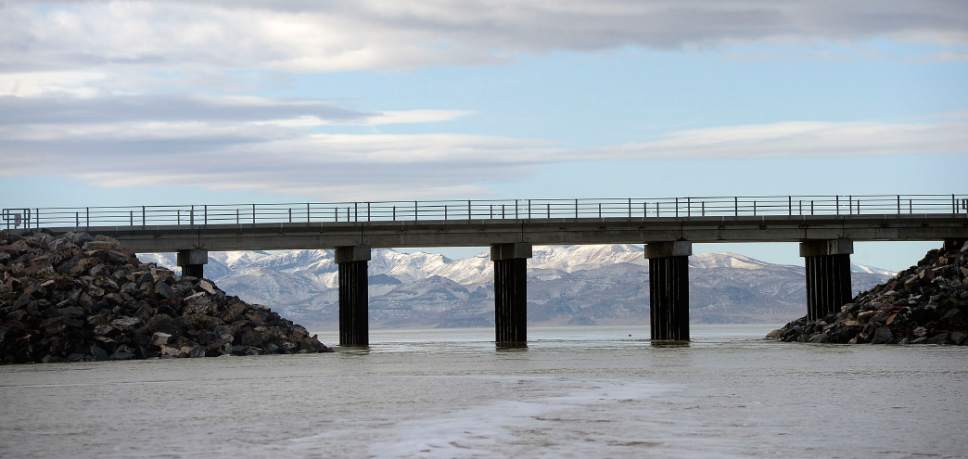 Al Hartmann  |  The Salt Lake Tribune A new, wider breach in the Great Salt Lake sepatares the north and south arms of the Great Salt Lake.