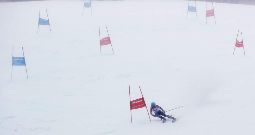 Megan McJames, of Park City, Utah, carves a turn on her second run at the women's giant slalom skiing race at the U.S. Alpine Ski Championships at Sugarloaf Mountain Resort in Carrabassett Valley, Maine, Monday, March 27, 2017. McJames won the race. (AP Photo/Charles Krupa)