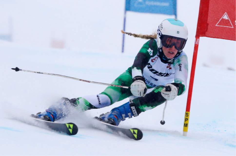 Foreste Peterson, of Berkeley, Calif., carves a turn on her first run at the women's giant slalom skiing race at the U.S. Alpine Ski Championships at Sugarloaf Mountain Resort in Carrabassett Valley, Maine, Monday, March 27, 2017. Peterson finished second. (AP Photo/Charles Krupa)