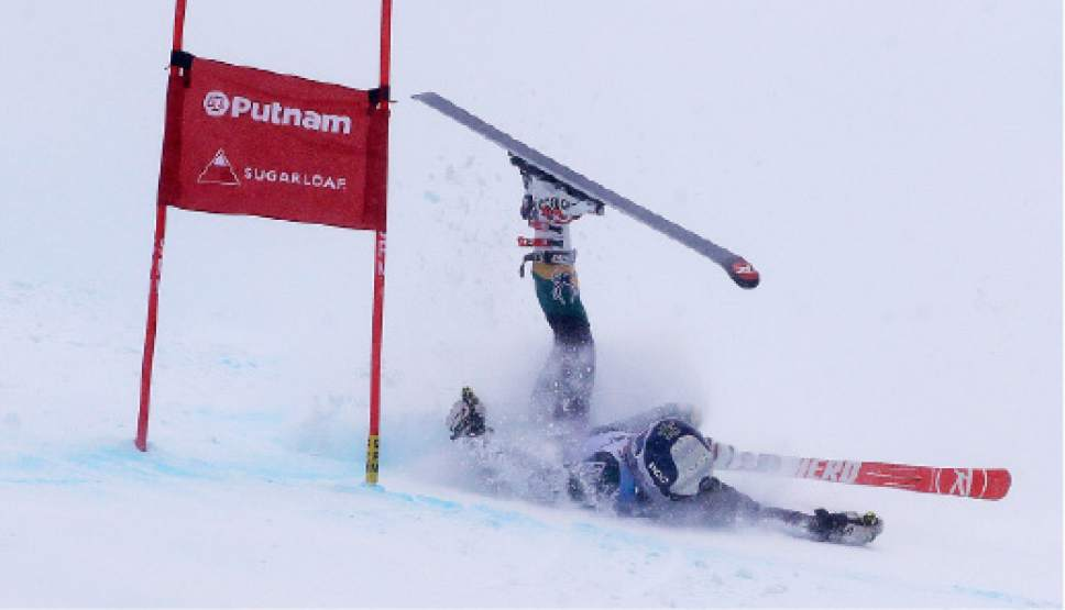 Paula Moltzan, of Lakeville, Minn., crashes on her second run at the women's giant slalom skiing race at the U.S. Alpine Ski Championships at Sugarloaf Mountain Resort in Carrabassett Valley, Maine, Monday, March 27, 2017. (AP Photo/Charles Krupa)