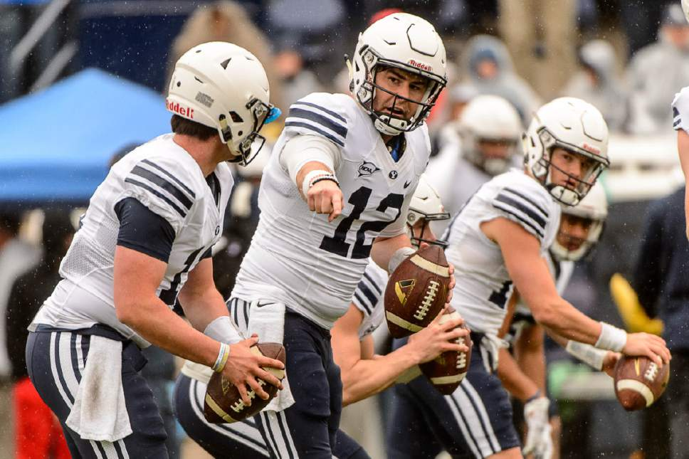 Trent Nelson  |  The Salt Lake Tribune BYU quarterbacks Jeremiah Evans, Tanner Mangum, and Koy Detmer Jr., during the annual spring football scrimmage in Provo, Saturday March 25, 2017.