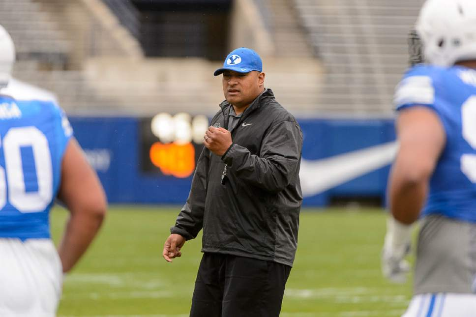 Trent Nelson  |  The Salt Lake Tribune BYU football coach Kalani Sitake at the school's annual spring scrimmage in Provo, Saturday March 25, 2017.