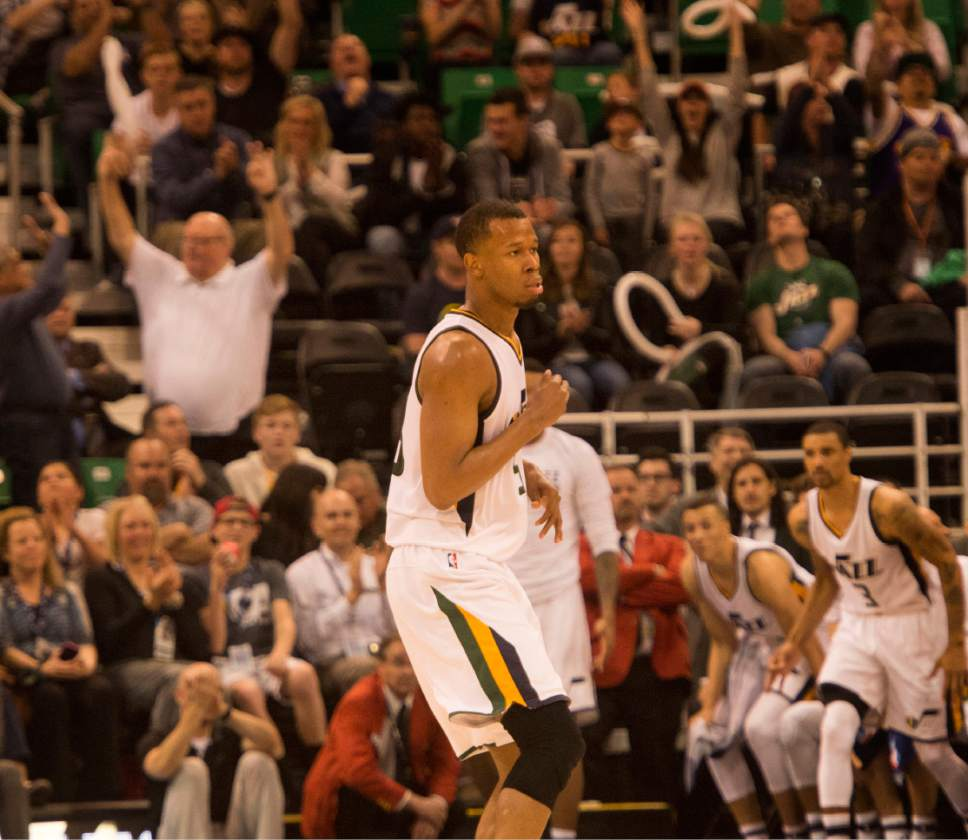 Rick Egan  |  The Salt Lake Tribune  Utah Jazz guard Rodney Hood (5) reacts after hitting a clutch 3-point-shot giving the Jazz a ten point lead with 50 seconds left the game, in NBA action Utah Jazz vs. New Orleans Pelicans, in Salt Lake City, Monday, March 27, 2017.