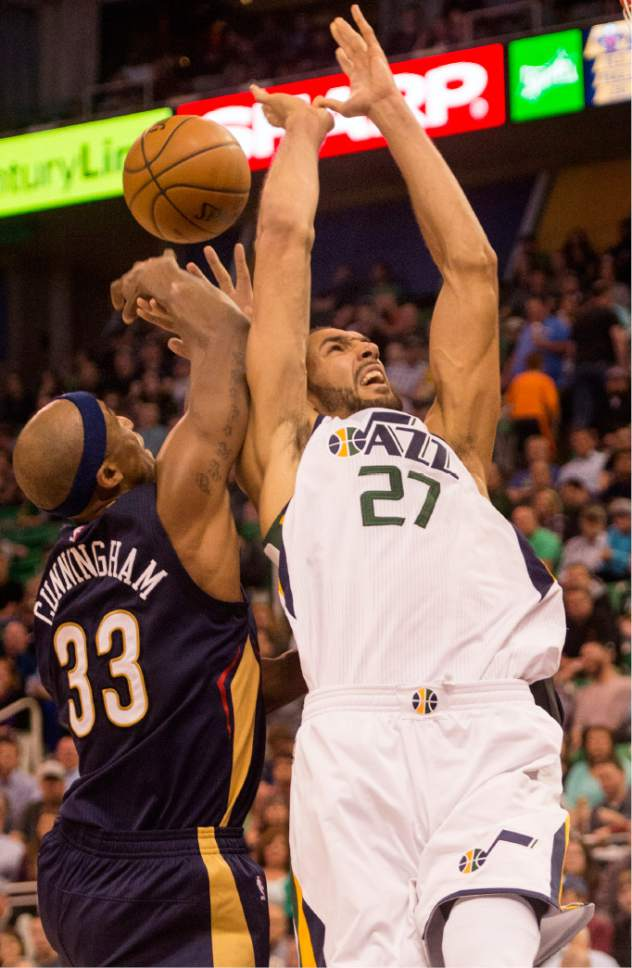 Rick Egan  |  The Salt Lake Tribune  Utah Jazz center Rudy Gobert (27) is found by  New Orleans Pelicans forward Anthony Davis (23), in NBA action Utah Jazz vs. New Orleans Pelicans, in Salt Lake City, Monday, March 27, 2017.
