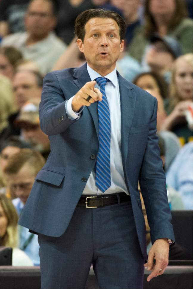 Rick Egan  |  The Salt Lake Tribune  Utah Jazz head coach Quin Snyder gives instructions to his team in the 4th quarter, in NBA action Utah Jazz vs. New Orleans Pelicans, in Salt Lake City, Monday, March 27, 2017.