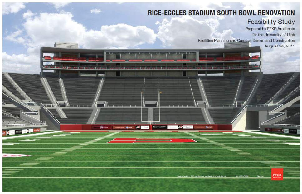 |  Courtesy of Utah Athletics  This rendering shows a 2011 proposal for the expansion of Rice-Eccles Stadium, with a new south end zone that fills in the bowl and includes premium seating.