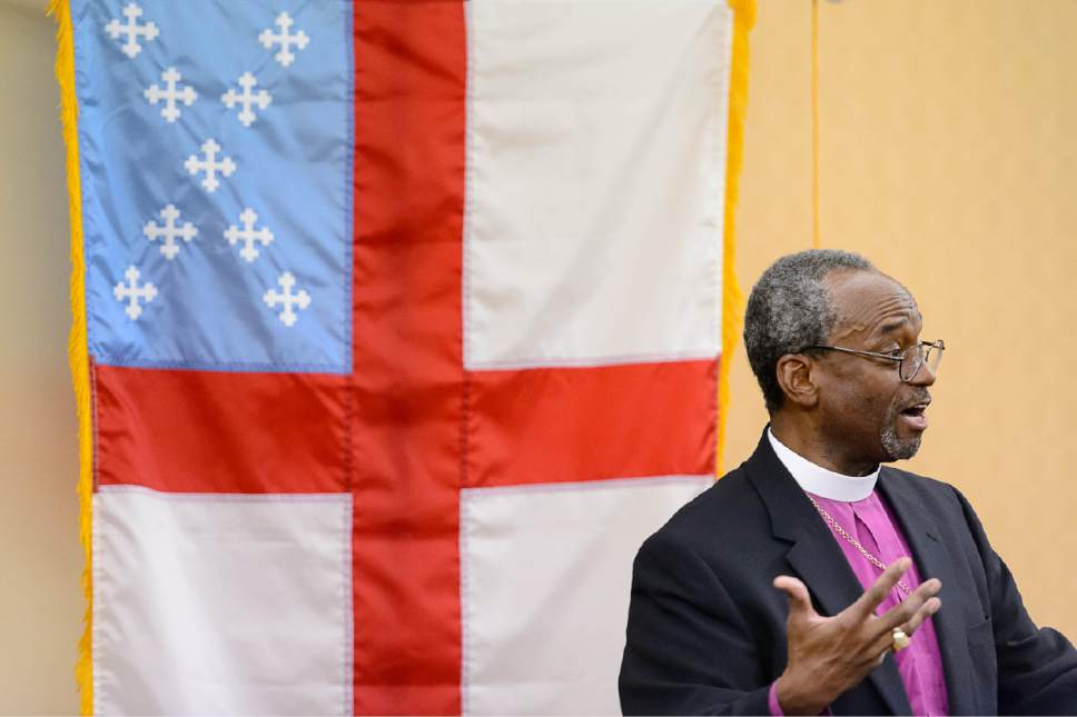 Trent Nelson  |  The Salt Lake Tribune Michael Curry, named Saturday as the Episcopal Church's first African-American presiding bishop, spoke to reporters during the  national assembly in Salt Lake City, Saturday June 27, 2015.