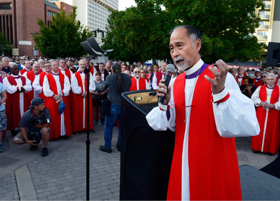 Scott Sommerdorf   |  The Salt Lake Tribune The Rt. Rev. Scott B. Hayashi, Bishop of Utah speaks prior to a march against guns by more than 60 Episcopal bishops and and about 2,000 in all, Sunday, June 28, 2015.