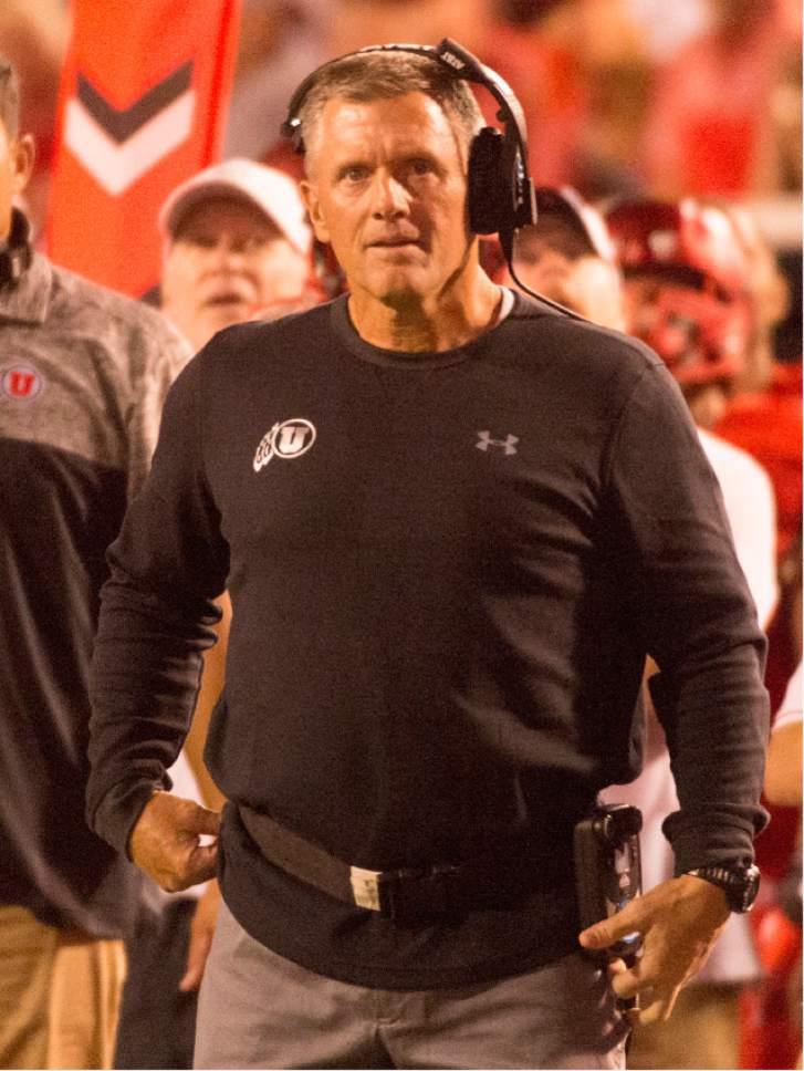 Rick Egan     The Salt Lake Tribune  Utah Utes head coach Kyle Whittingham waits for the results of a reviewed play, in football action, BYU vs. Utah, at Rice-Eccles Stadium, Saturday, September 10, 2016.