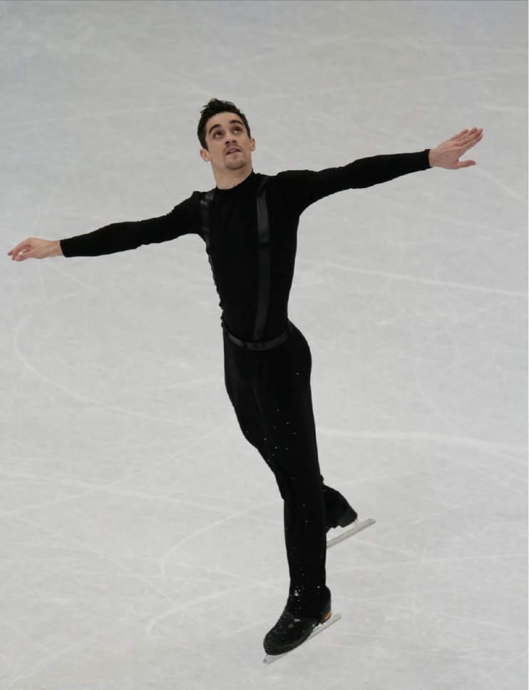 Javier Fernandez, of Spain, skates his short program at the World figure skating championships in Helsinki, Finland, on Thursday, March 30, 2017. (AP Photo/Ivan Sekretarev)