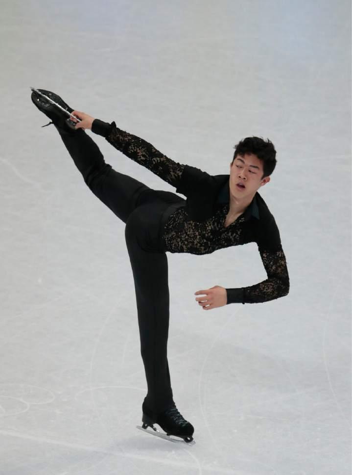 Nathan Chen, of the United States, skates his short program at the World figure skating championships in Helsinki, Finland, on Thursday, March 30, 2017. (AP Photo/Ivan Sekretarev)