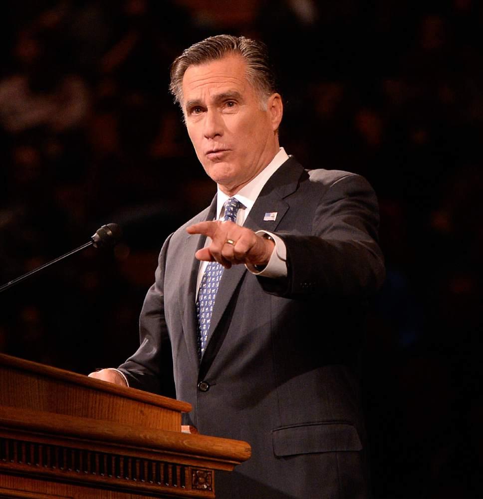 Al Hartmann  |  Tribune file photo Mitt Romney is shown in late 2016.