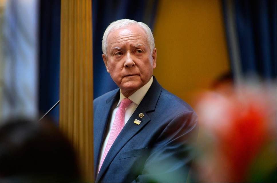 Scott Sommerdorf | The Salt Lake Tribune  U.S. Senator Orrin Hatch, R-Utah, listens as Senate President Wayne Niederhauser, R-Sandy, thanks him for speaking in the Utah Senate, Wednesday, February 22, 2017.