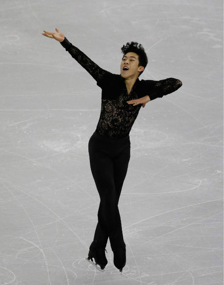 Nathan Chen of the United States competes in the Men Short Program at the ISU Four Continents Figure Skating Championships in Gangneung, South Korea, Friday, Feb. 17, 2017. (AP Photo/Ahn Young-joon)