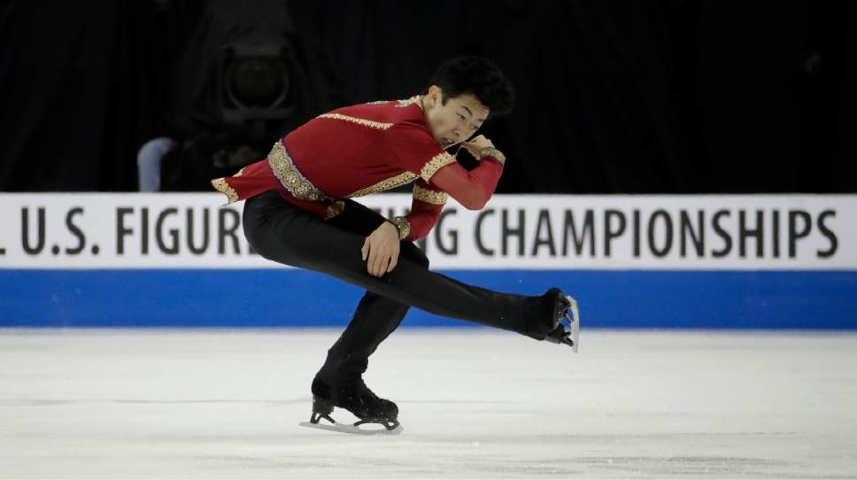 Nathan Chen performs during the men's free skate competition at the U.S. Figure Skating Championships, Sunday, Jan. 22, 2017, in Kansas City, Mo. (AP Photo/Charlie Riedel)