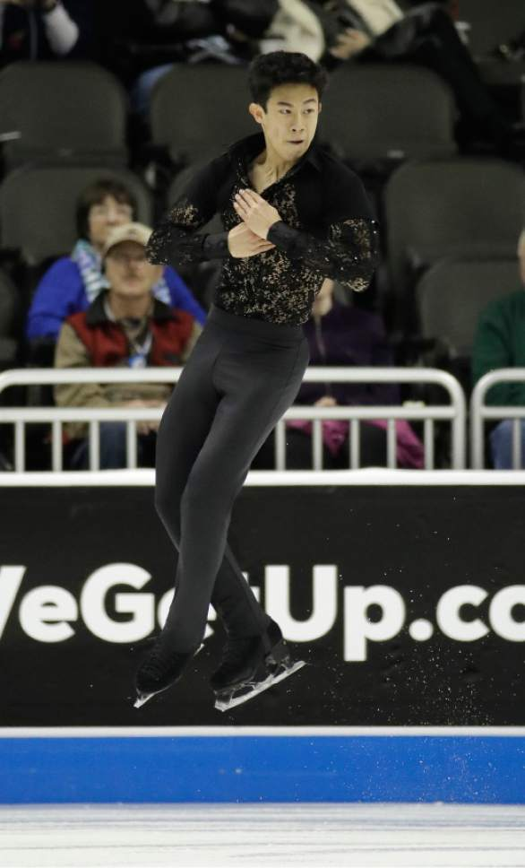 Nathan Chen performs during the men's short program at the U.S. Figure Skating Championships on Friday, Jan. 20, 2017, in Kansas City, Mo. (AP Photo/Charlie Riedel)