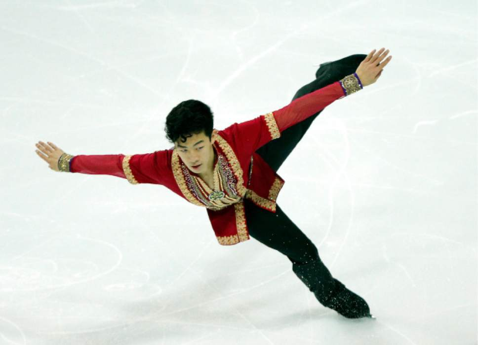 Nathan Chen of the U.S competes in the Men Free Skating Program during ISU Grand Prix of Figure Skating Final in Marseille, southern France, Saturday, Dec. 10, 2016. (AP Photo/Christophe Ena)