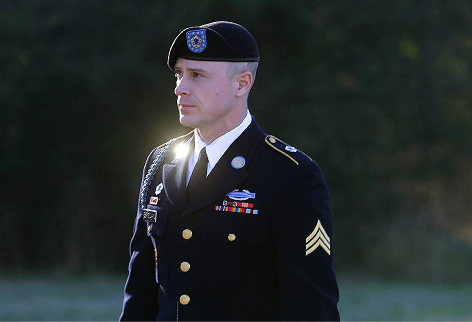 FILE - In this Tuesday, Jan. 12, 2016 file photo, Army Sgt. Bowe Bergdahl arrives for a pretrial hearing at Fort Bragg, N.C. Attorneys for Bergdahl said Saturday, March 5, 2016, they may seek a deposition from presidential contender Donald Trump or call him as a witness at a legal proceeding, saying they fear his comments could affect their client's right to a fair trial. (AP Photo/Ted Richardson, File)