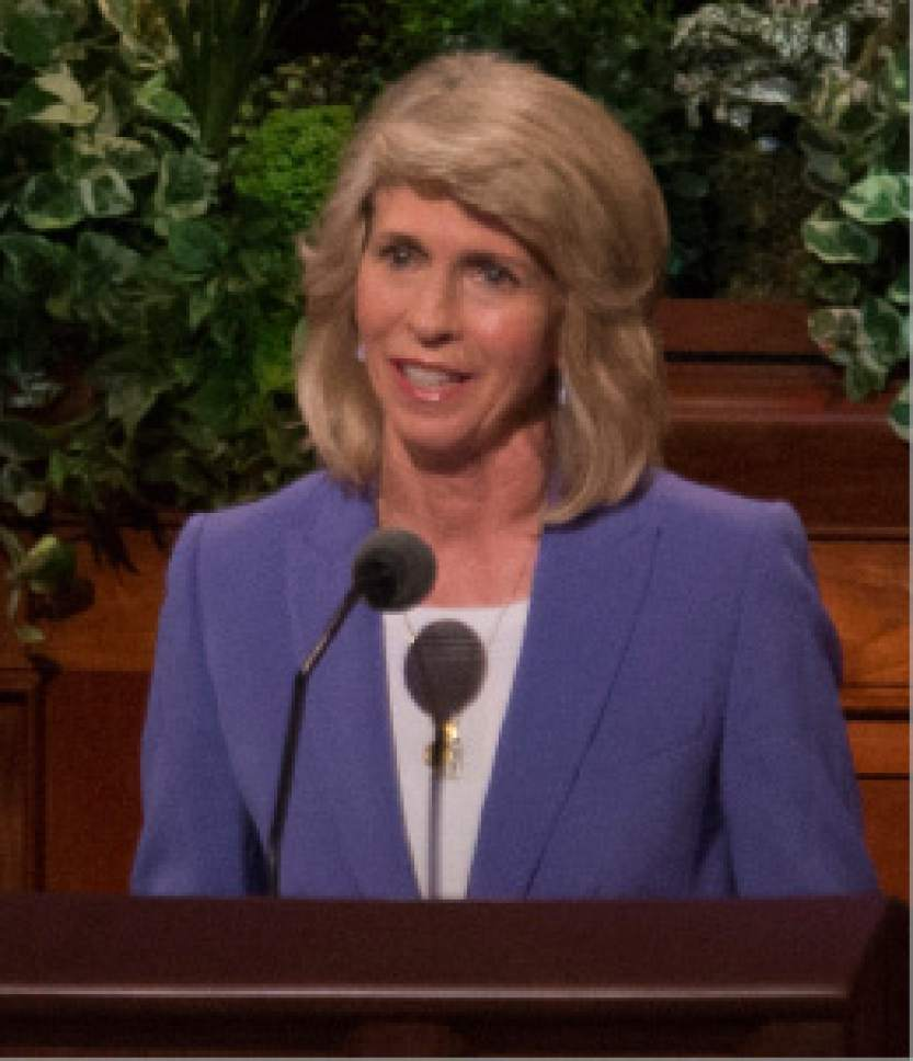 Rick Egan  |  The Salt Lake Tribune  Sister Carol F. McConkie speaks at the Women's Conference session of LDS General Conference, at the LDS Conference center, Saturday, March 25, 2017.