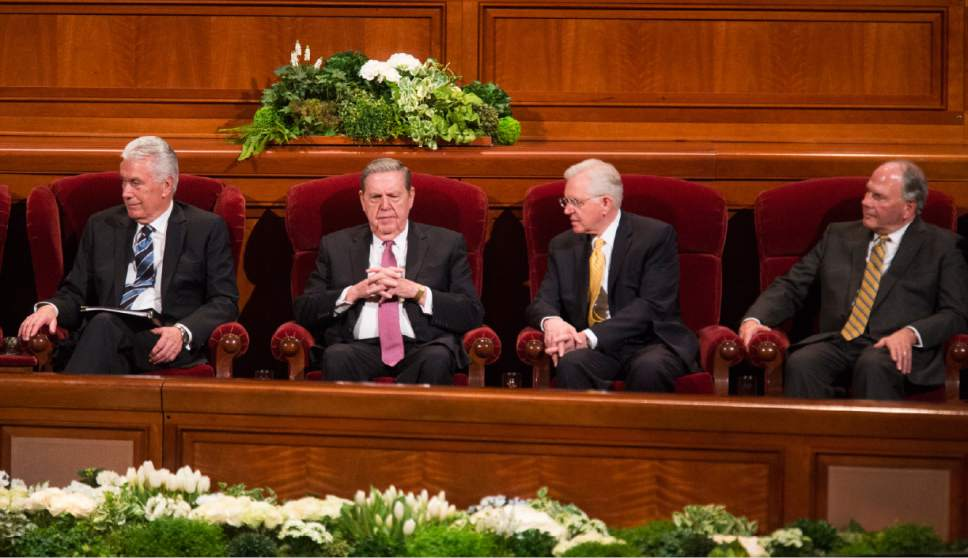 Rick Egan  |  The Salt Lake Tribune  Priesthood leaders at the Women's Conference session of LDS General Conference, at the LDS Conference center,  Saturday, March 25, 2017.