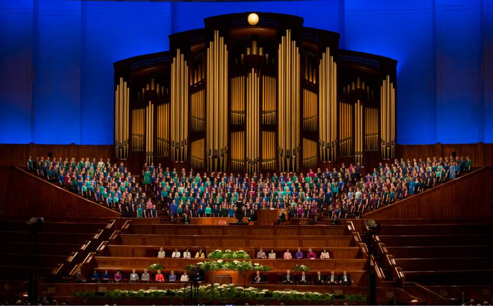 Rick Egan  |  The Salt Lake Tribune  The combined Relief Society Choir from Brigham Young University sing the opening hymn, at the Women's Conference session of LDS General Conference, at the LDS Conference center, Saturday, March 25, 2017.