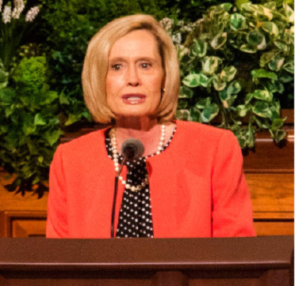 Rick Egan  |  The Salt Lake Tribune  Bonnie H. Cordon, Second Counselor, Primary General Presidency, speaks at the Women's Conference session of LDS General Conference, at the LDS Conference center, Saturday, March 25, 2017.