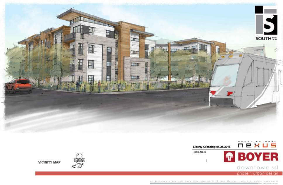 Artist's rendition courtesy of South Salt Lake UTA's Streetcar whizzes past an apartment complex that will be built between State and Main streets adjacent to the rail line in an artist's rendition of housing that will be built within The Crossing Development in South Salt Lake.