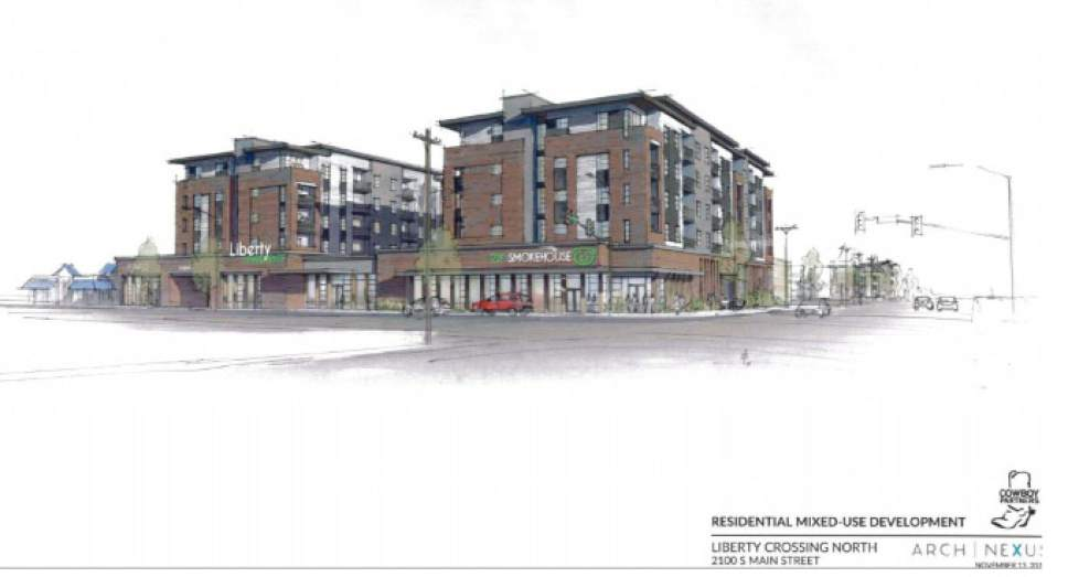 |  Artist's rendition courtesy of South Salt Lake  Cowboy Partners is on tap to build considerable amounts of housing, including numerous affordable units, on the north and south ends of The Crossing mixed-use development at  2100 South between State and Main streets.