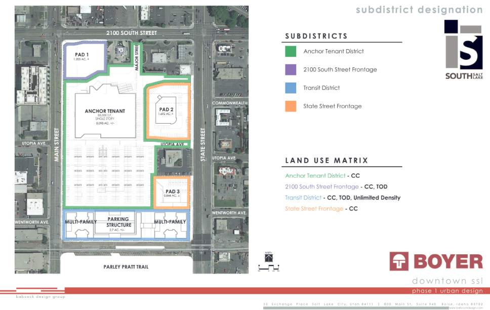 |  Drawing courtesy of South Salt Lake  This graphic shows the boundaries of the first phase of The Crossing mixed-use development, which is expected to transform South Salt Lake's 'downtown' district.