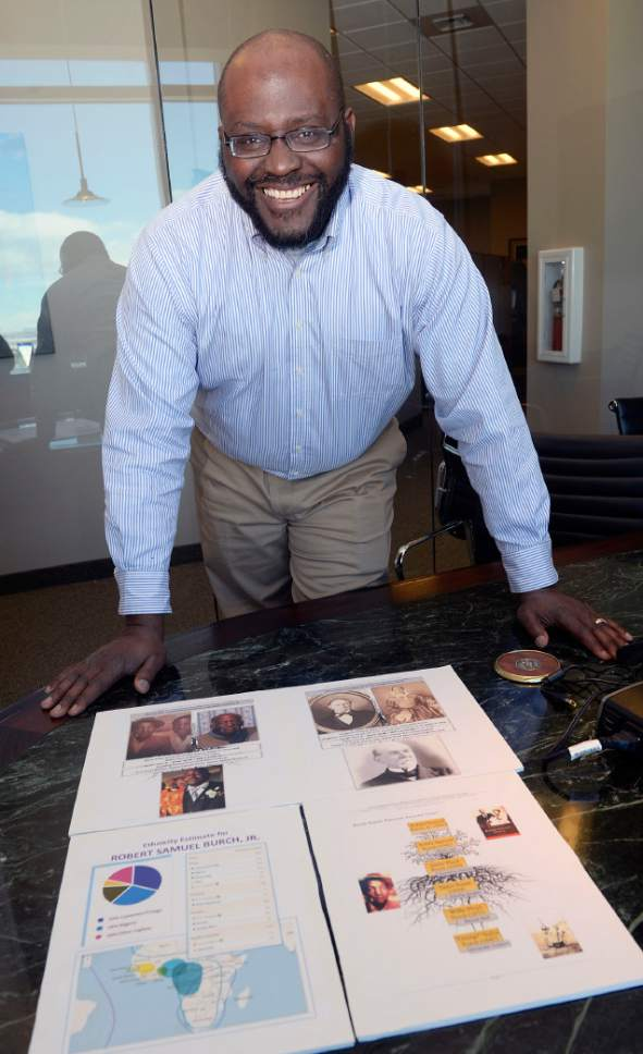 Al Hartmann  |  The Salt Lake Tribune Robert Burch, president of the Afro-American Historical and Genealogical Society in Utah shows DNA results that help explain his family history tree.  He recently had his DNA tested by AncestryDNA.org.