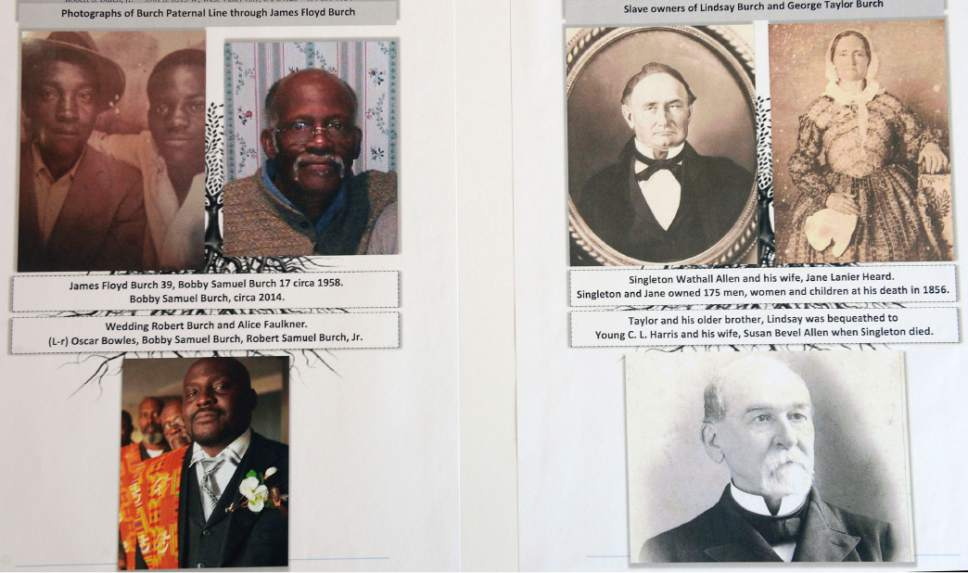 Al Hartmann  |  The Salt Lake Tribune Family photos of Burch Paternal line, left, and slave owners of the early Burch family.