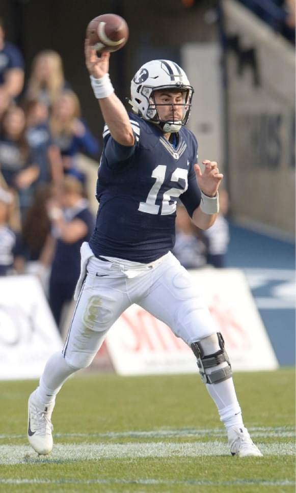 Leah Hogsten     The Salt Lake Tribune  Brigham Young Cougars quarterback Tanner Mangum (12) fires off a pass. Brigham Young University defeated Southern Utah University 37-7 during their first match up at LaVell Edwards Stadium,  Saturday, November 12, 2016.