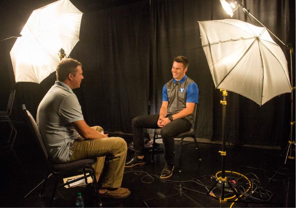 Rick Egan     The Salt Lake Tribune  BYU quarterback Tanner Mangum talks to reporters at the annual football media day at the Broadcasting Building,Thursday, June 30, 2016.