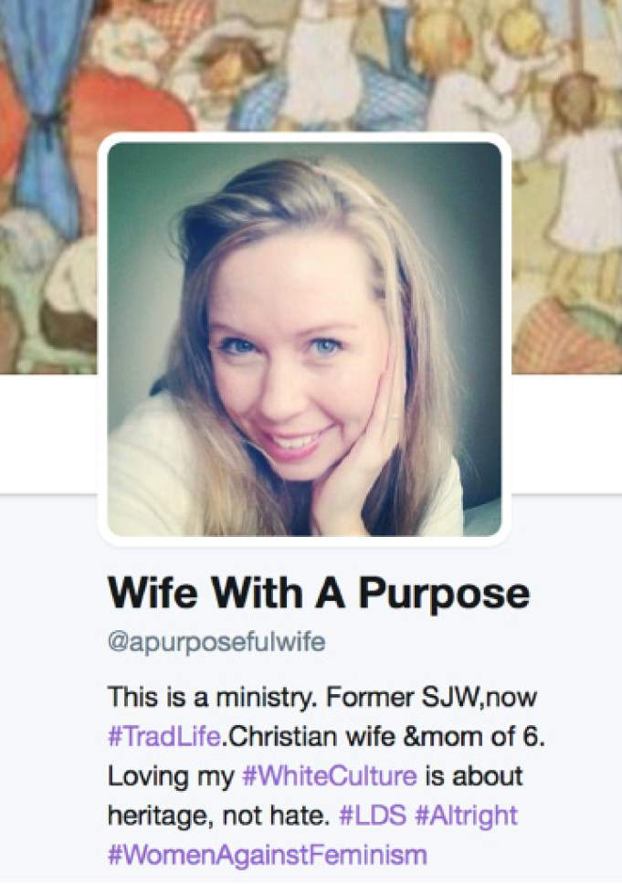 "The Wife With A Purpose twitter account propagates ""alt right"" views."